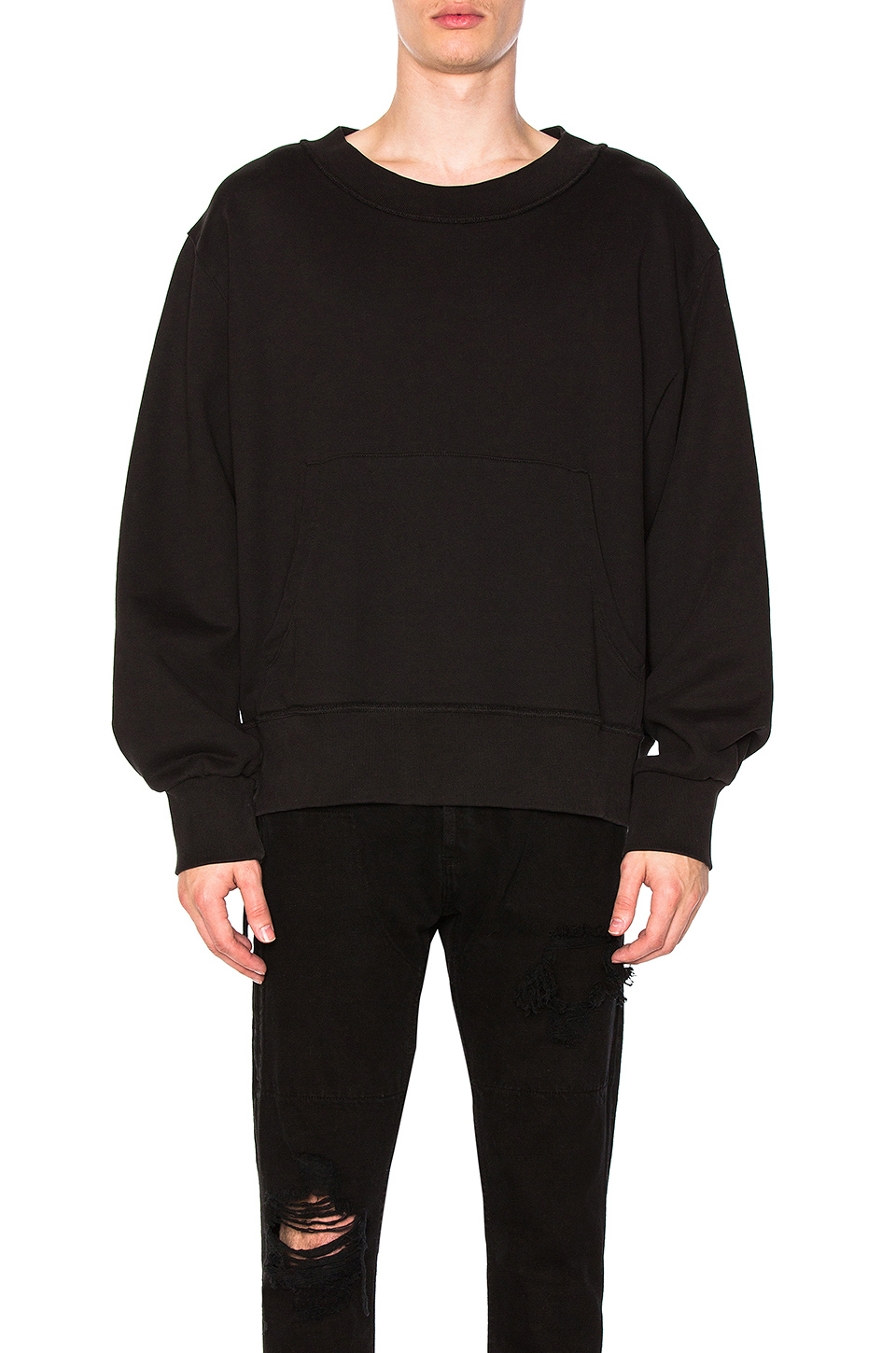 Mr. Completely Double Pocket Crewneck in Black