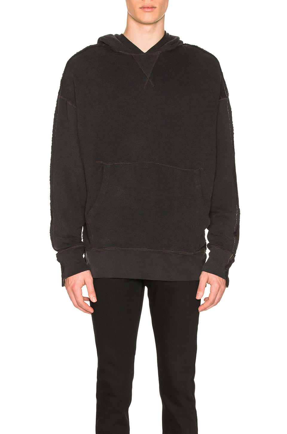 R13 Two Toned Seamed Hoodie in Black