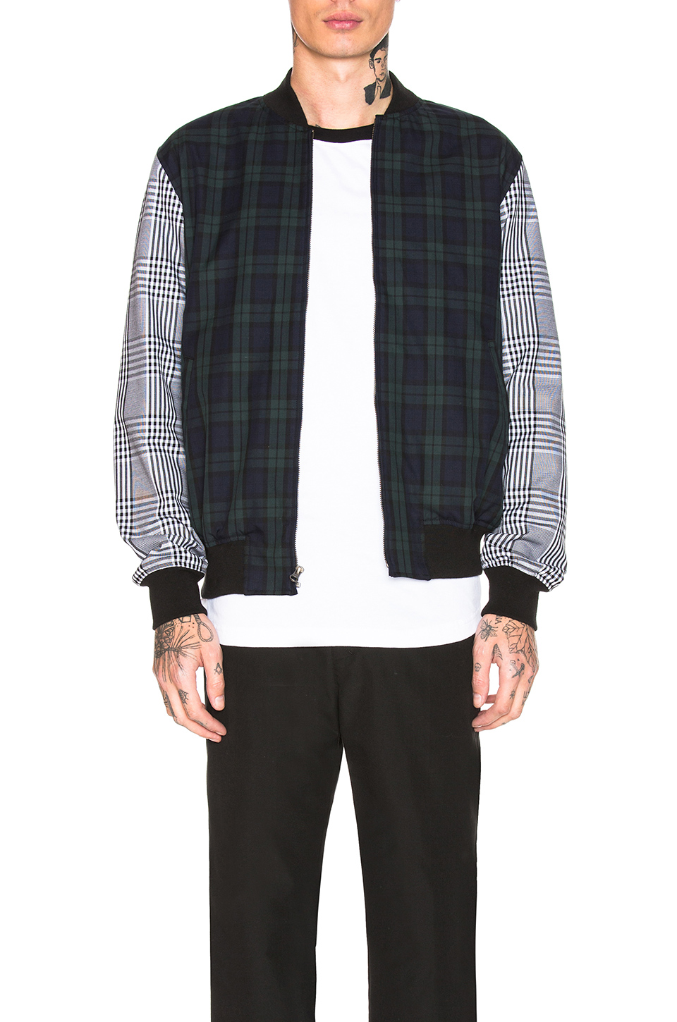 Stussy Mixed Plaid Bomber in Navy