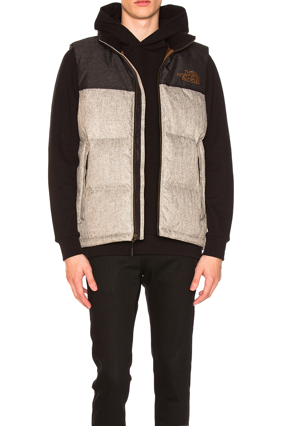 The North Face Novelty Nuptse Vest in Monument Grey Herringbone and TNF Black Dobby