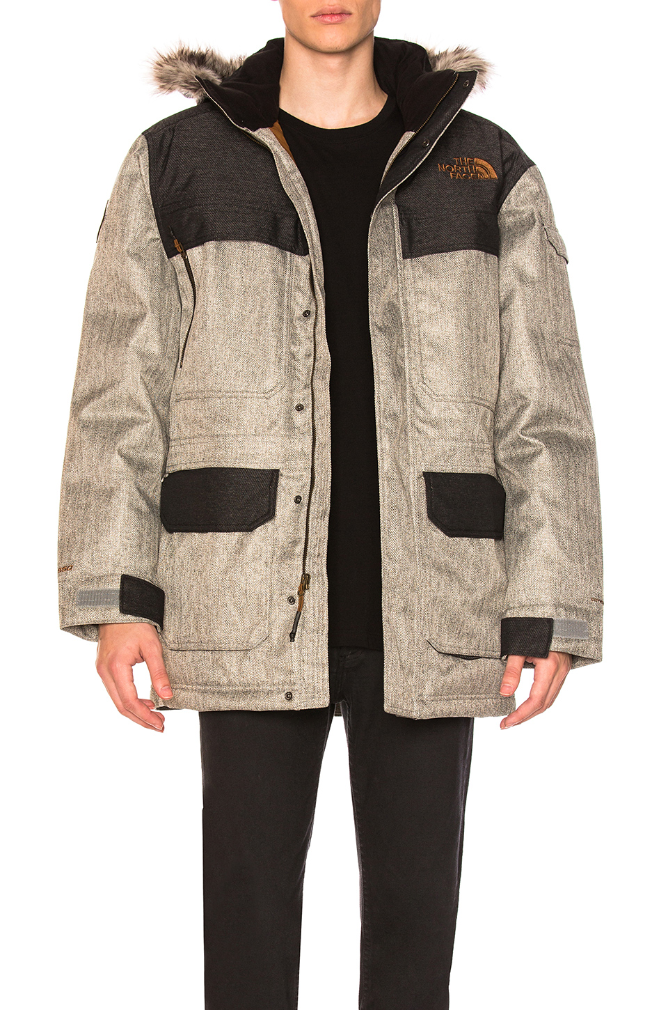 The North Face McMurdo Parka III With Faux Fur Trim in Monument Grey Herringbone and TNF Black Dobby