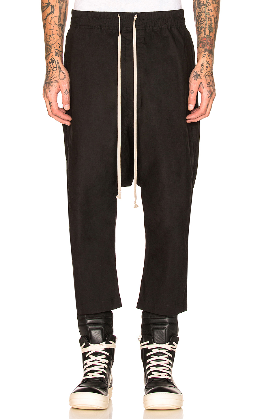 DRKSHDW by Rick Owens Drawstring Cropped Pants in Black