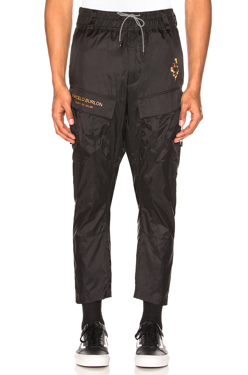 Marcelo Burlon Fire Cross Cargo Pants in Black