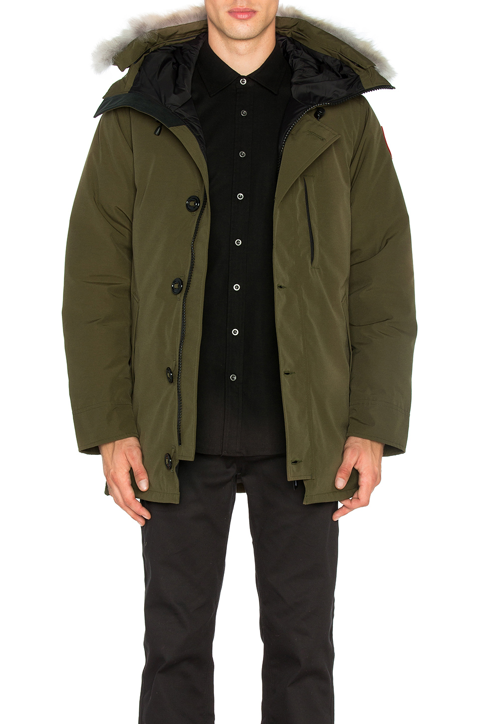 Canada Goose Chateau Coyote Fur Trim Parka in Military Green