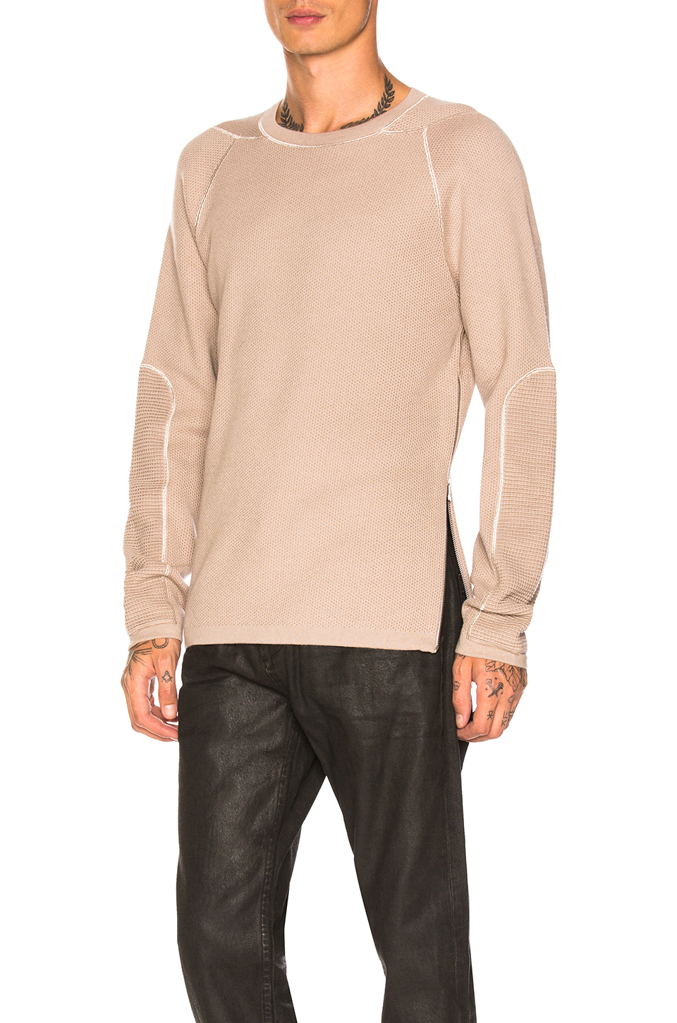 Helmut Lang Combo Crewneck Luxe in Agate