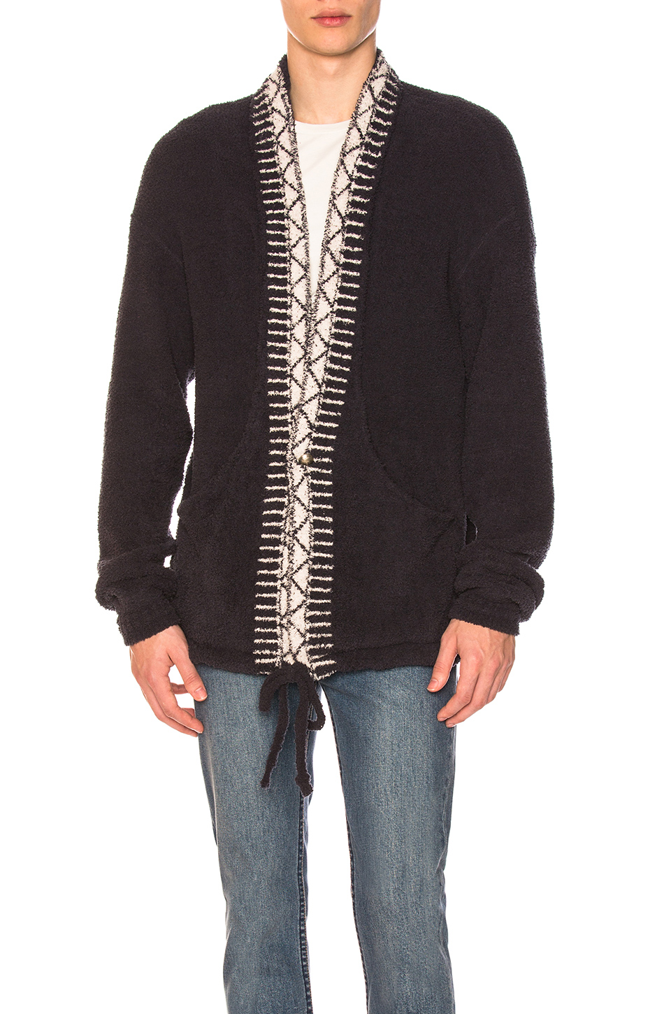 Remi Relief Native Polyester Mole Cardigan in Ink Blue