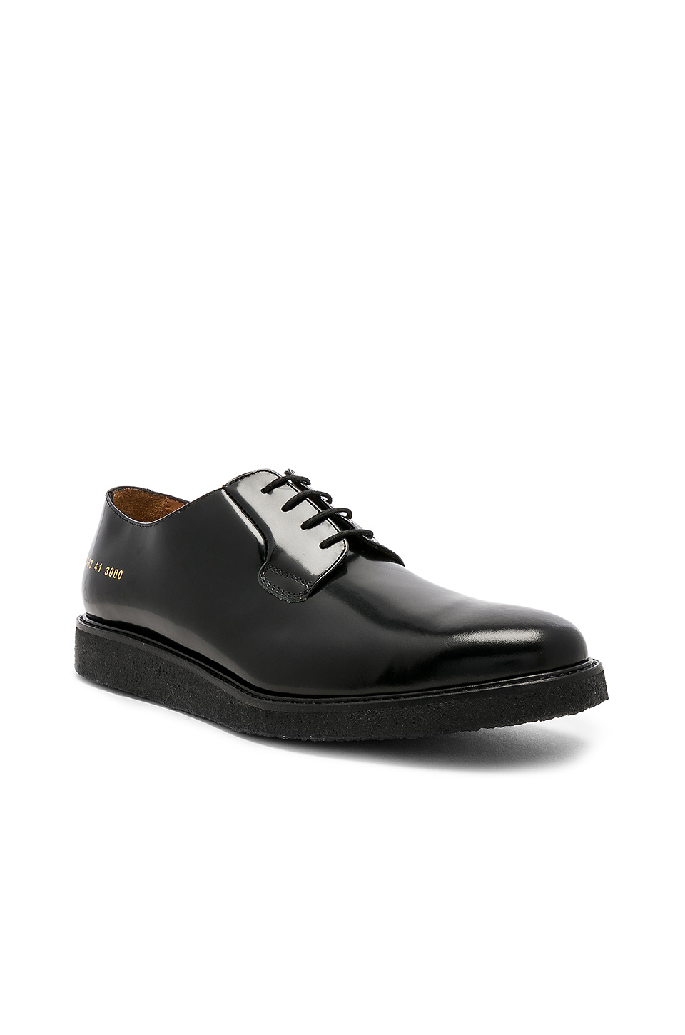 Common Projects Derby Shine in Black & Black