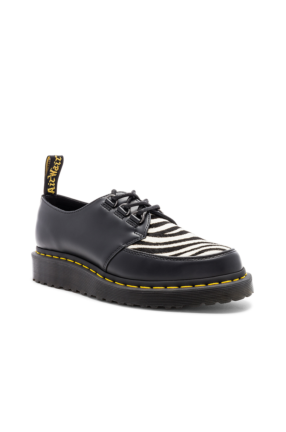 Dr. Martens Ramsey Zeb with Faux Fur Zebra Panel in Black & Zebra
