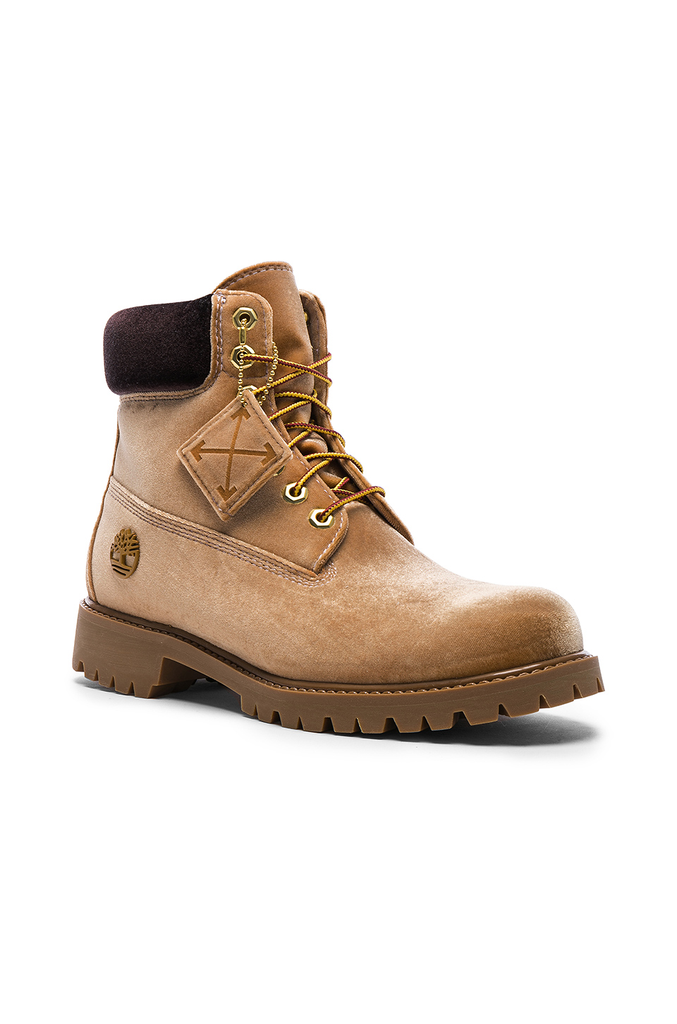 OFF-WHITE x Timberland Velvet Hiking Boots in Camel