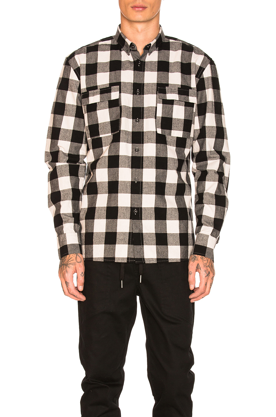 Zanerobe Flannel Box Longsleeve Shirt in Black & Natural
