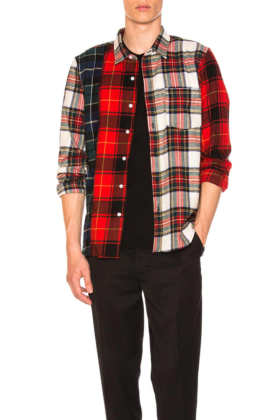 Stussy Mixed Tartan Button Down in Multi