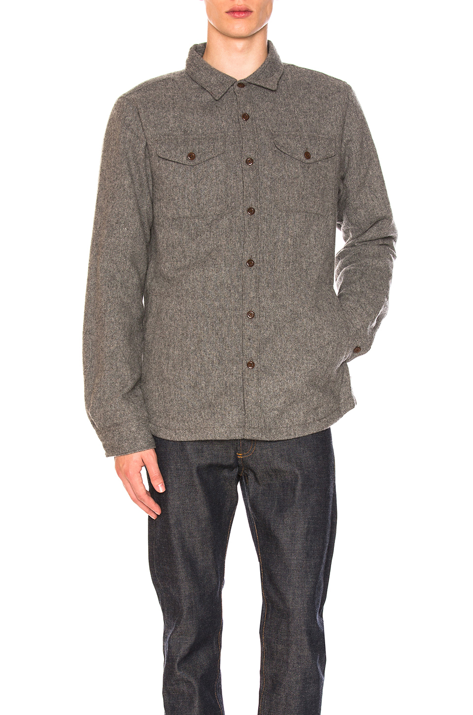 The North Face Cabin Fever Wool Shirt in TNF Medium Grey Heather