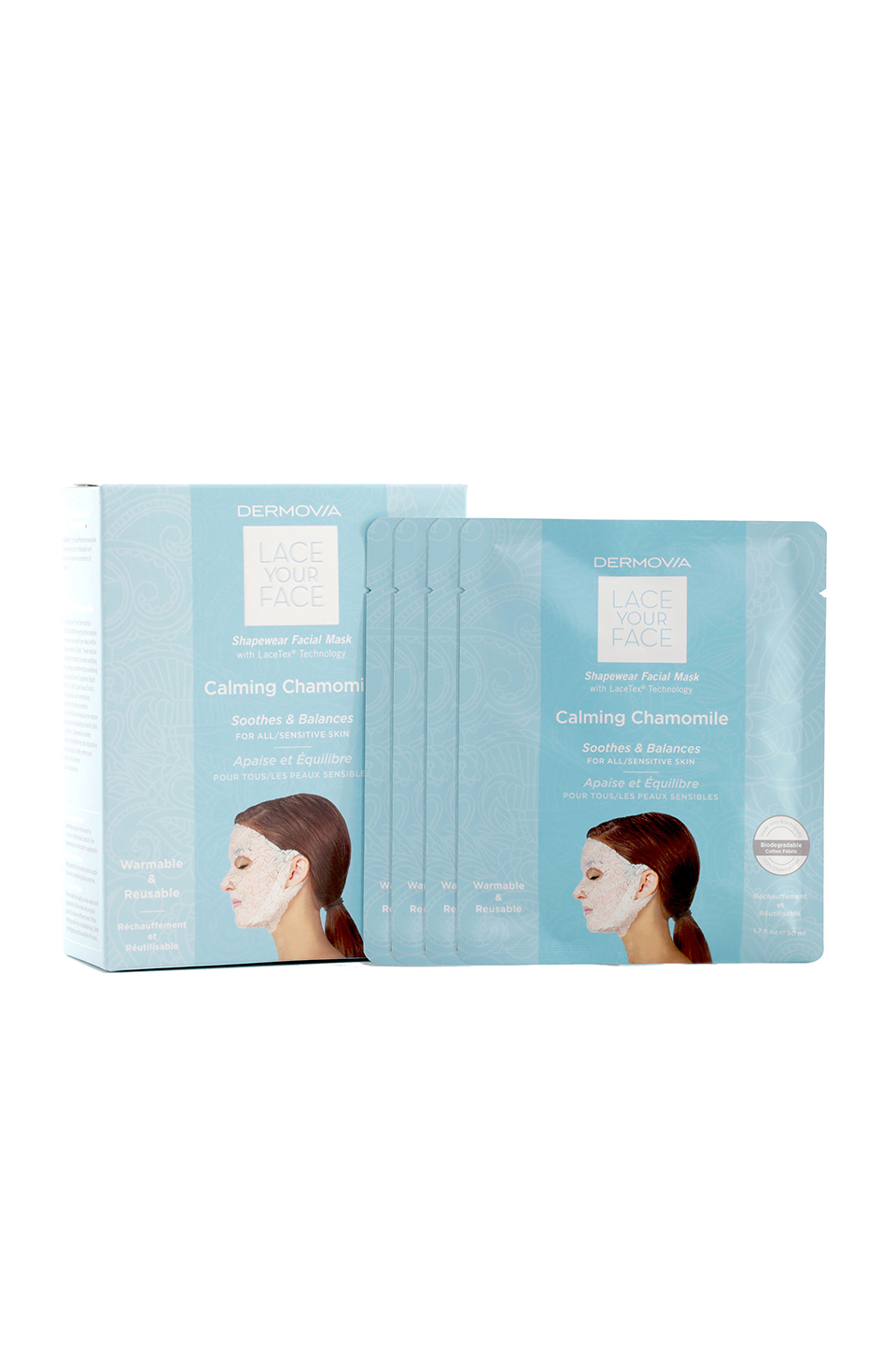 Dermovia Lace Your Face Mask 4 Pack in Calming Chamomile